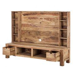 Now at TV & Mediaschrank by Wolf Möbel – Furniture Ideas Tv Stand Plans, Tv Wall Design, Remodeling Mobile Homes, Diy Holz, Wood Pallets, Pallet Tv, Pallet Projects, Diy Projects, Wooden Pallets