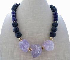 Amethyst chunky necklace big bold necklace black lava rock
