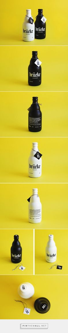 Brücke Bier by Anna Salvador on Behance curated by Packaging Diva PD. Love this black and white beer packaging branding.