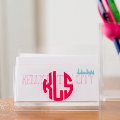 White Elephant Designs + Kelly in The City  Monogrammed business card holder