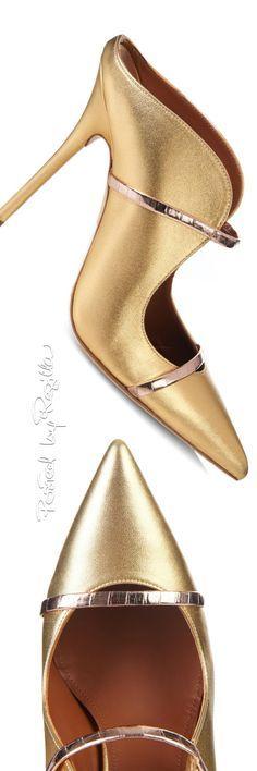 I ❤ COLOR ORO ❤ DORADO ❤ Malone Souliers of London ~ 'Marine' Gold Satin Body Shoe w Horizontal Rose…