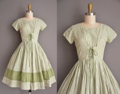 vintage 1950s dress. 50s cotton lace up corset full skirt dress. green pinstripe print dress