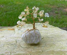 "Clear Quartz 6.5/"" Gemstone Gem Decorative Wire Desktop MONEY Tree FENG SHUI"