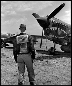 P 40 Warhawk . Flying Tigers aircraft of WWII, protecting China against Japan. Piloted by US Flyers .