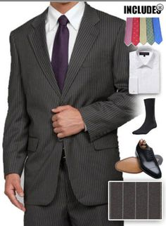 Starting at: $198.90 MENS NEW Grey 2b 6pc Career Business Formal Dress Suit,Shirt,Shoes,Tie 36 to 50