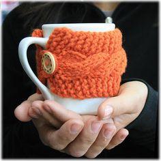 Keeping Things Simple... Reusable knitted coffee cup cozy Pumpkin pekoesiphouse.com