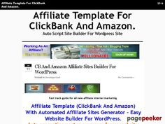 Affiliate Template For ClickBank And Amazon. | Auto Script Site Builder For Wordpress Site