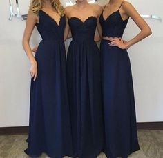 navy blue mismatched long chiffon Bridesmaid Dresses, PD8002
