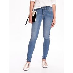 Old Navy Womens Mid Rise Rockstar Built In Sculpt Jeans ($40) ❤ liked on Polyvore featuring jeans, jolene, petite, mid rise jeans, old navy jeans, super stretch jeans, white stretch jeans and petite stretch jeans