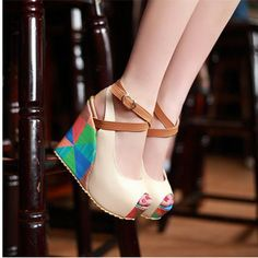 Sweet Color Blocking Peep Toe Ankle Strap Wedge Sandal