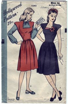 FREE SHIPPING Vintage 1945 Hollywood 1642 Sewing Pattern Misses' Blouse and  Jumper Dress Size 12 Bust 30