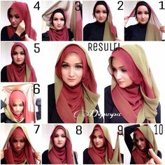 We will show you how to wear different hijab styles through step by step tutoria. We will show you how to wear different hijab styles through step by step tutorials. Tutorial Hijab Segitiga, Simple Hijab Tutorial, Turban Hijab, Hijab Stile, How To Wear Hijab, Modele Hijab, Stylish Hijab, Hijabi Girl, Islamic Fashion