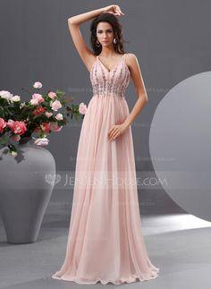 A-Line/Princess V-neck Floor-Length Chiffon Prom Dress With Ruffle Beading Sequins (018022729) - JenJenHouse