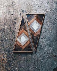"Waldkirch's vertical triangle shape was inspired by bunting, which brings to mind festive fall memories and an autumnal, earthy mystique. Shades of natural wood create an ombre effect that ends in a diamond shape in the center of the piece. 13"" x 26.5"""