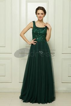 Computer embroidered hand-beaded green evening dress