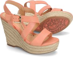 Sofft Primrose in Peach. LOVE! These are the most comfortable high wedges I've ever worn. Cute style, padded, non-slip, breathable foot bed, butter soft leather straps, and has the height of fashionable designer shoes, but these take care of your feet! LOVE, LOVE!