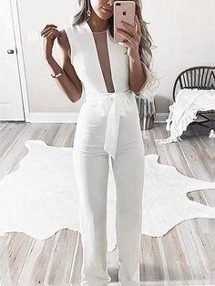 White Sheer Mesh Panel Tie Waist Sleeveless Romper Jumpsuit #white #jumpsuit #fashion #chic #ootd