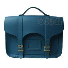 Bolsa Croisfelt Satchel Cor Azul Petróleo, Couro Legítimo Alta Padrão 13'' Retrô Vintage Feminina ou Unissex Sem Gênero #moda #fashion