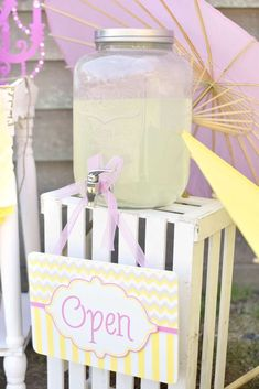 Drink station at a pink lemonade birthday party! See more party planning ideas at CatchMyParty.com!