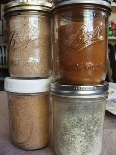 Homemade Mixes for chili seasoning, cinnamon toast topping, taco seasoning, ranch dressing, spicy salt, and garlic salt