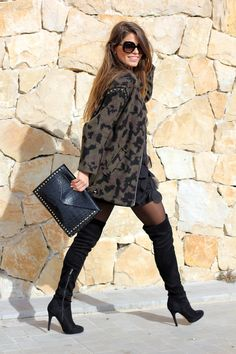 leopard cardigan + black tights + over the knee boots