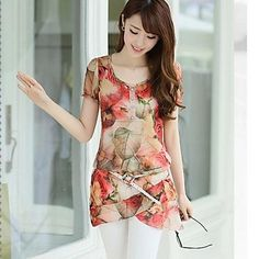 Women's Floral Red/Green Blouse, U Neck Short Sleeve Layered Hem – USD $ 7.99