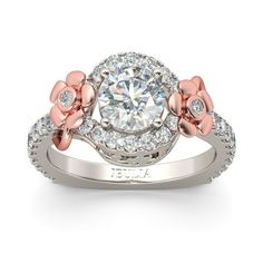 Floral 2-tone Round Cut Created White Sapphire Rhodium Plating Sterling Silver Engagement Ring