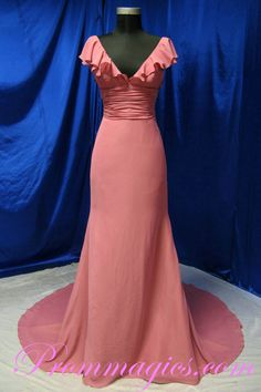 V Neck Elegant Design Chiffon Coral Evening Dress On Sale $169