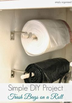 A clever, space-saving DIY project for keeping those huge rolls of garbage bags handy and easy to grab.