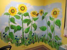 Hand painted sunflower mural