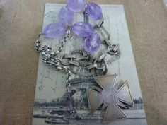 IRON CROSS sterling amethyst  antique  vintage  by PennysCastle, $175.00