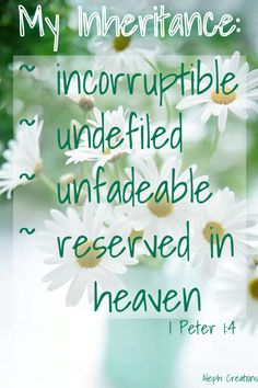 Praise be to the God and Father of our Lord Jesus Christ! In his great mercy he has given us new birth into a living hope through the resurrection of Jesus Christ from the dead, and into an inheritance that can never perish, spoil or fade. This inheritance is kept in heaven for you, 1 Peter 1:3-4