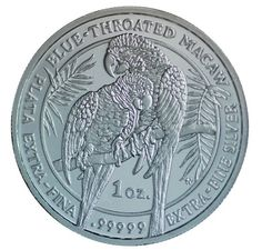 1 Oz Royal Silver Company Proof like finis. 99999 2011 Blue Throated Macaw