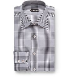 Checked shirts are an astute way to introduce colour and pattern into your boardroom look. <a href='http://www.mrporter.com/mens/Designers/Tom_Ford'>TOM FORD</a>'s version is finished with clever details that elevate the design – the mitered cuffs, for example, have angled edges which give this piece a smart point of difference. The cut is slim but not restrictive, whilst the tonal-grey and black motif will easily pair with your tailoring stalwarts.