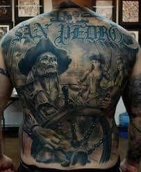 Pirate Tattoo 57 Payasa Tattoo, Tattoos Masculinas, Tatoo Art, Body Art Tattoos, Tattoo Ship, Tatoos, Sick Tattoo, Girl Tattoos, Full Back Tattoos
