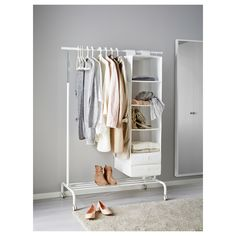 Space saving hacks RIGGA Clothes rack - white - IKEA Weed Control Facts: Winning the Battle of the W Ikea Clothes Rack, Hanging Clothes Racks, Clothes Rail, Hanging Racks, Clothes Rack Bedroom, Standing Clothes Rack, Diy Clothes Rack Cheap, Walmart Clothes, Standing Closet
