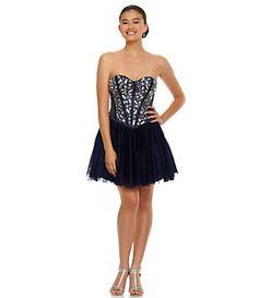 B. Darlin Strapless Beaded Corset Dress   Dillard's Mobile