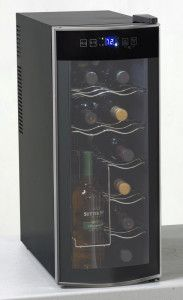 Avanti EWC1201 - 12 Bottle Wine Cooler #Review. The Avanti 12 bottle wine cooler is the perfect choice for those with a small wine collection. The Avanti holds 12 regular sized bottles, but can be re-configured to hold larger sized bottles. What makes this cooler stand out is an area designed to hold 4 bottles upright. #Bestwinecoolers #winecoolerreviews