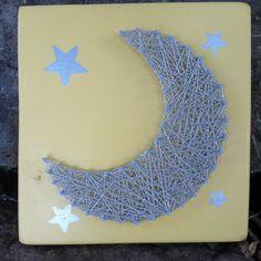 Nursery String Art Moon String Art Moon by JOCoriginalcreations Sketch Ideas, Yellow Background, Silver Stars, String Art, Color Combinations, Nursery Decor, Moon, Hand Painted, Crafts