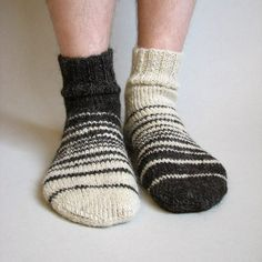 Asymmetrical Striped Hand Knitted Socks Made of Hand by milleta