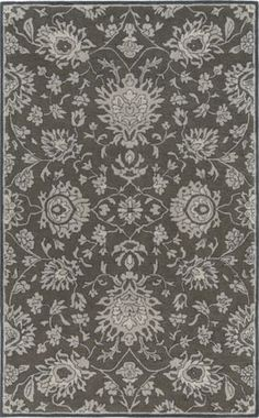 A classic pattern and shades of gray come together in this 100% wool Castello rug from Surya (CLL-1002).
