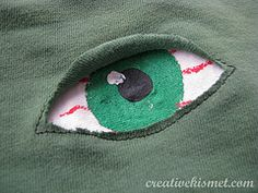 """""""Reverse applique eye"""" be a spider for halloween and put two eyes on a shirt!"""