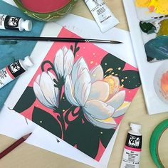 I wanted to play with the @shinhanart PASS hybrid gouache paints today, so I painted some magnolia blossoms! I plan on doing a few more of these . #illustration #artoftheday #instaart #artistsoninstagram #gouache #shinhan #shinhanart #shinhanpass #magnolia #painting #gouachepainting #jacquelindeleon