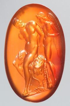 Gemme: Hercules is captivated by Cupid  Roman Republican  Third quarter of the 1st century. V. Chr.  Carnelian, dark orange. In modern gold setting as a ring.