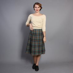 40s Plaid Wool SKIRT / PLEATED Aqua & Grey xs by LuckyDryGoods