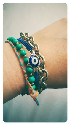 Stackoftheday -Goulter-Bennetts Evil Eye and Turquoise bracelets along with a Tiffany number http://stores.ebay.co.uk/Goulter-Bennetts