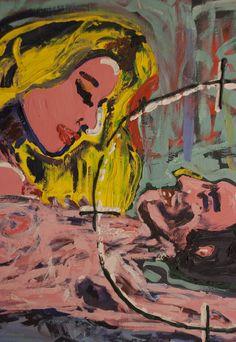 """Mari Guglielmo - """"Amanti"""", particolare, 70x50 cm, tela - Collezione Vittoria Vincenzi"""