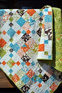 handmade quilt #quilt.  I like the pattern AND the colors.  Cool!