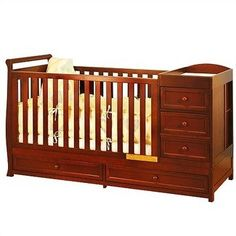 "$451.80 Baby Daphne I Convertible Crib (Cherry) (41""H x 72""W x 29""D) - The Cherry Daphne I Convertible Crib is an all-in-one children's bedroom furniture piece! This solid wood crib features a built-in changing table on one end that can be separated later to be used as a nightstand next to the kids bed when baby has outgrown the crib! Four Storage Drawers Side Shelves for Additional Storage Non  ..."
