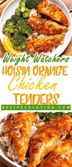 INGREDIENTS: 1 pounds chicken tenders, sprinkled with salt and pepper 1 tablespoon canola oil 2 medium cloves garlic, chopped finely or minced zest from 1 medium orange cup freshly squeezed orange juice cup hoisin sauce 1 tablespoon. Ww Recipes, Cooking Recipes, Healthy Recipes, Healthy Breakfasts, Healthy Dishes, Skinny Recipes, Healthy Options, Healthy Treats, Popular Recipes